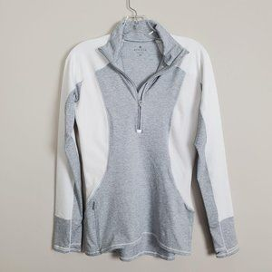 Athleta Gray White Zip Up Fitted Long Sleeves Top